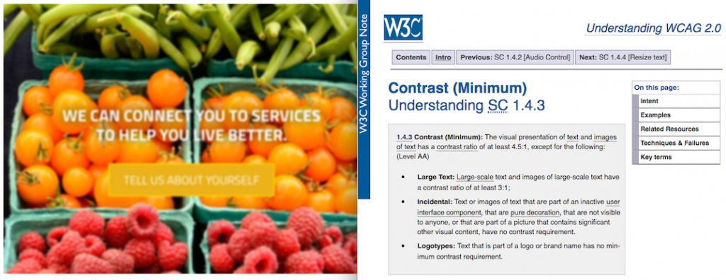 1.4.3 Contrast (Minimum): The visual presentation of text and images of text has a contrast ratio of at least 4.5:1