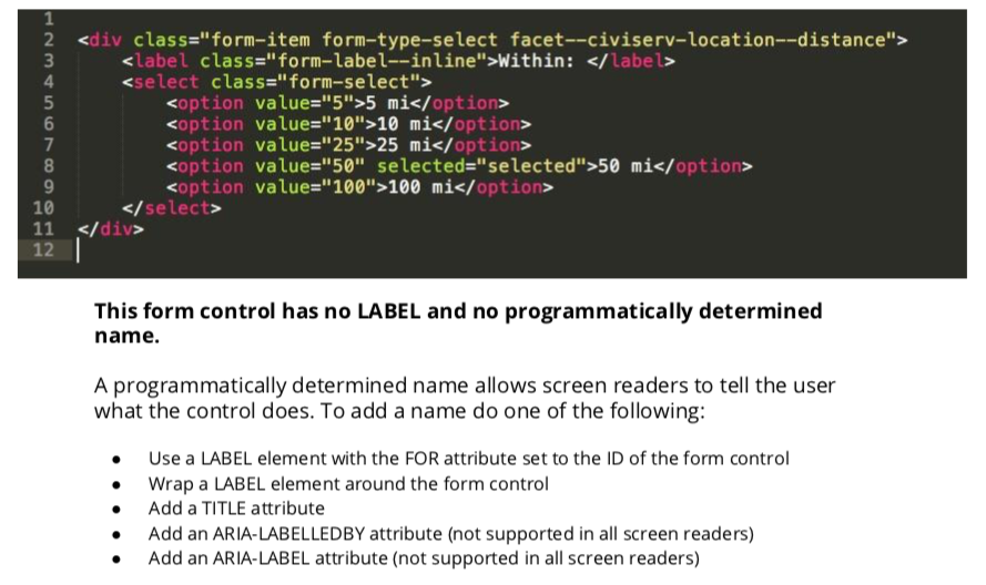 H44: Using label elements to associate text labels with form controls.