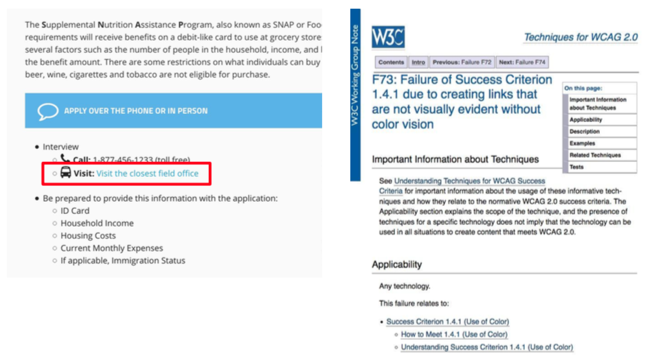 F73: Failure of Success Criterion 1.4.1 Links that are not visually evident without color vision.