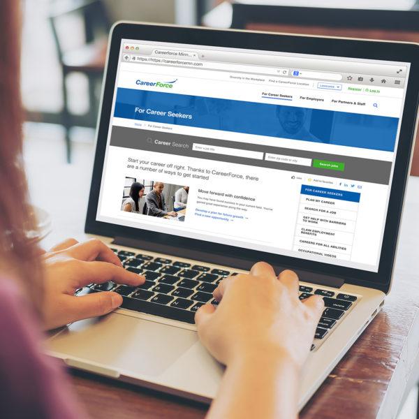 The Minnesota CareerForce website accessed on a laptop