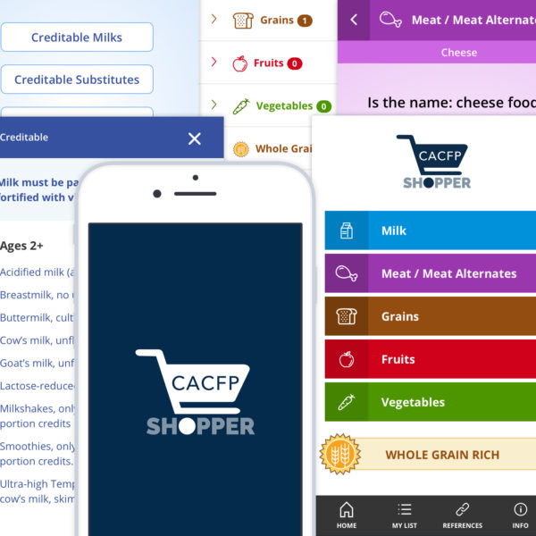 Screenshots of the CACFP Shopper mobile app