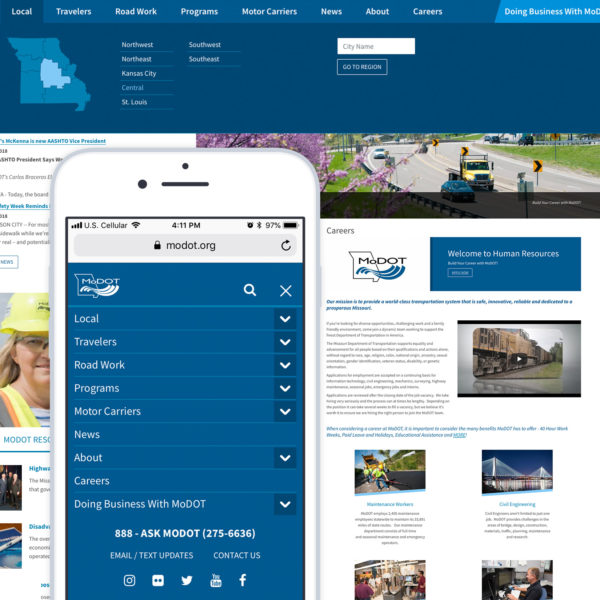 Screenshots of the Missouri Department of Transportation website