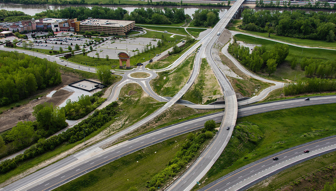 An arial view of a highway interchange in Missouri