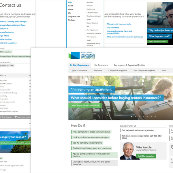Screenshots of the Washington Office of the Insurance Commissioner website