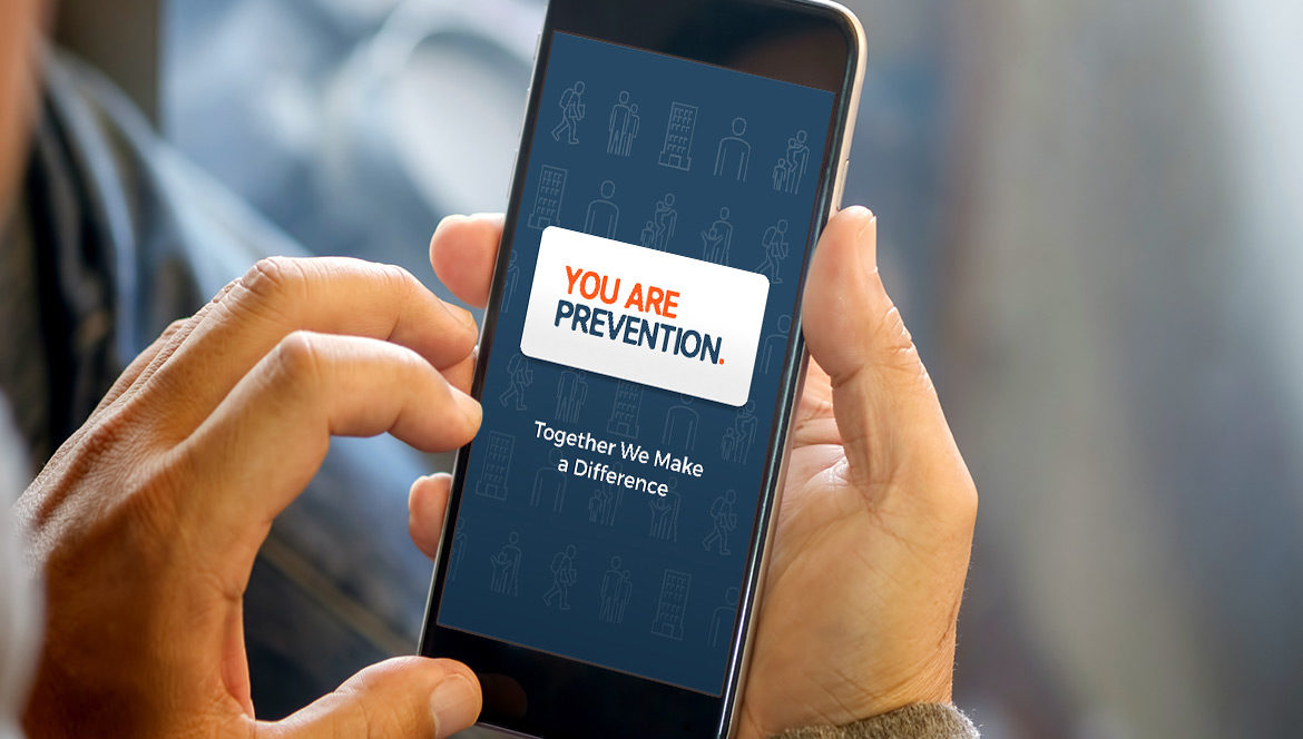 The You Are Prevention mobile application being accessed from a smartphone