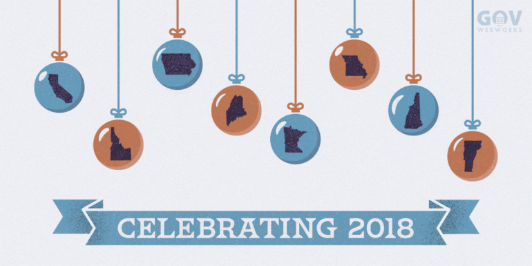 "An illustration showing various state maps on holiday ornaments about the caption ""Celebrating 2018"""