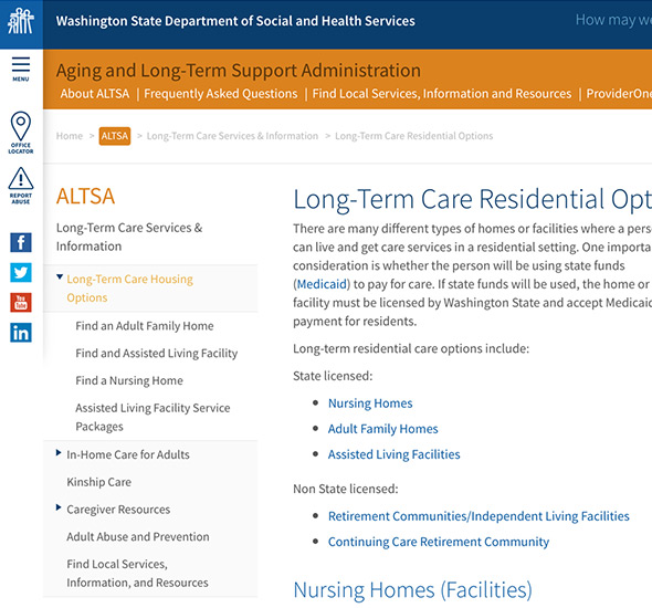 A screenshot of the Washington Department of Social and Health Services website