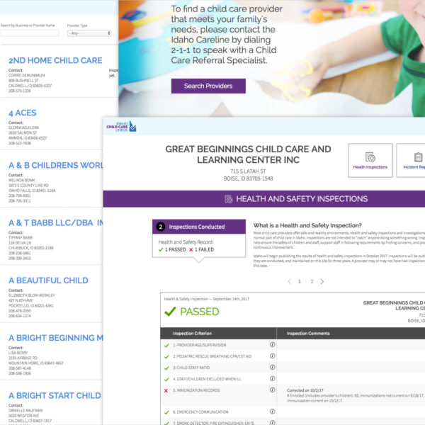 Screenshots of the Idaho Child Care Check website