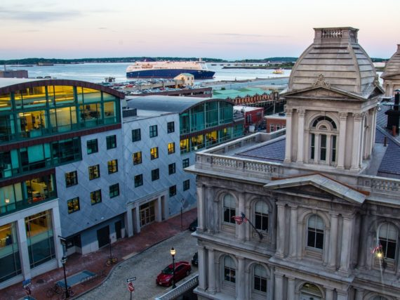 A rooftop view of Portland, Maine's harbor