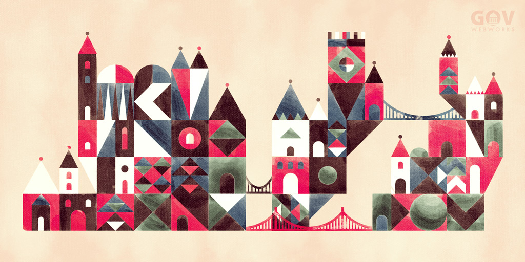 A graphic representing the No Wrong Drawbridge Approach featuring a castle of building blocks joined by many bridges