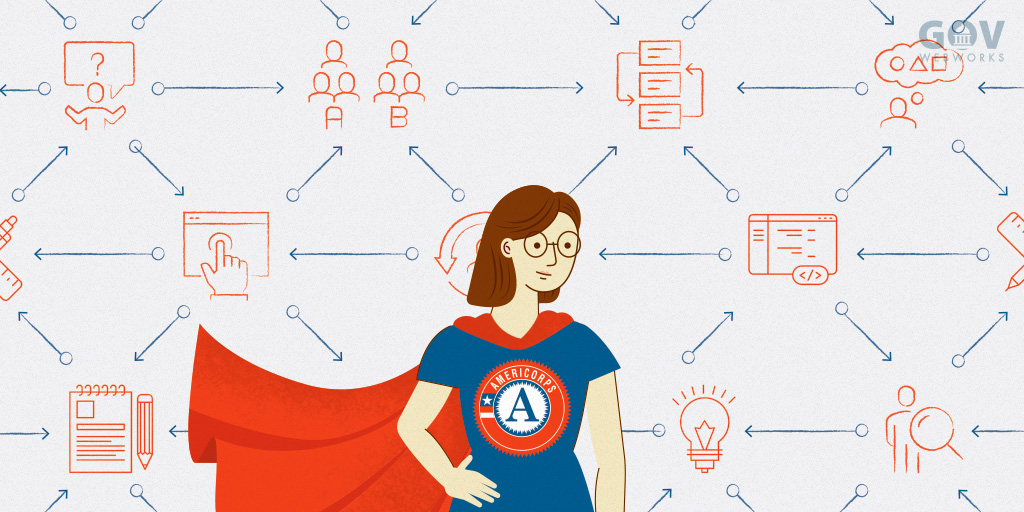 An illustration depicting an Americorps volunteer as a superhero
