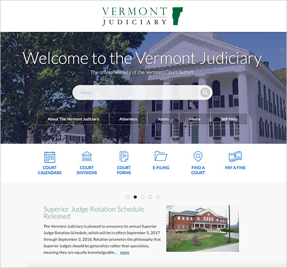 Screenshot of the Vermont Judiciary homepage
