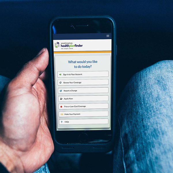 Washington Health Plan Finder viewed on a smartphone