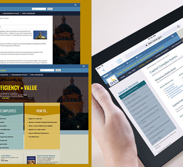 Iowa Department of Administrative Services website montage