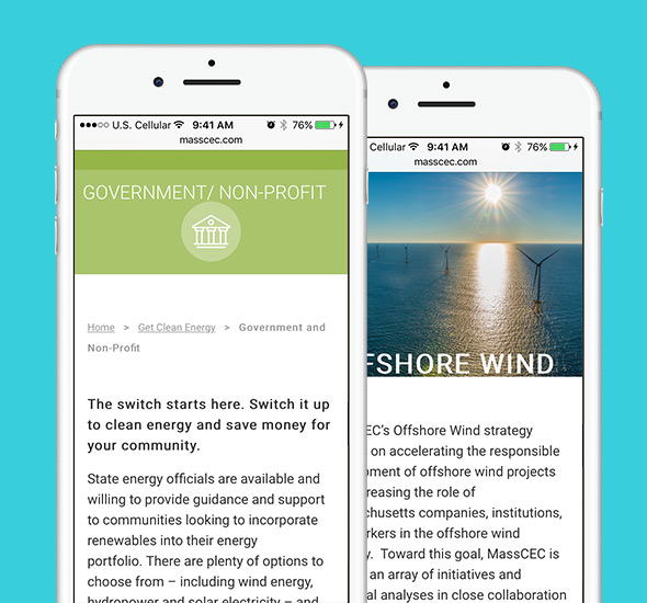 Mobile view of Massachusetts Clean Energy Center website