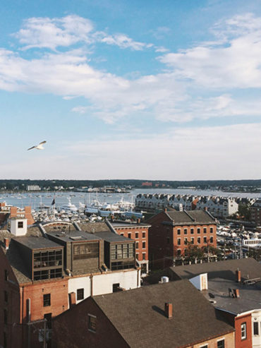 Rooftop view of Portland, Maine harbor