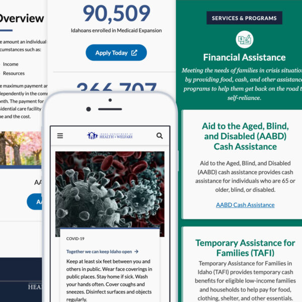 Idaho Department of Health and Welfare desktop and mobile views